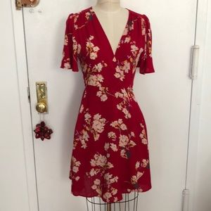 Cotton Candy red floral wrap dress S
